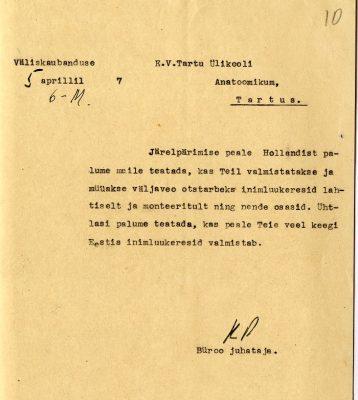 Näide 1930date äridiplomaatiast Eesti välisministeeriumi väliskaubanduse osakonna kirja näol. Foto: Riigiarhiiv