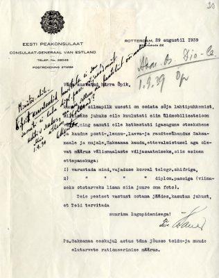 Op de foto: een brief (augustus 1939) gestuurd door Bauer aan Tallinn waarin waarin hij over de oorlogsdreiging schrijft. Foto: Nationaal Archief Estland