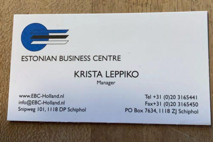 Op de foto: een visitekaartje van Krista Leppiko van het Estonian Business Centre (begin jaren 2000). Foto: privé-archieven van Krista Leppiko