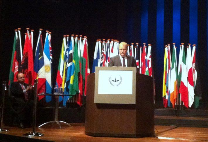 Paet kõnet pidamas Rahvusvahelises Kriminaalkohtus (International Criminal Court, ICC) Foto: EV välisministeerium