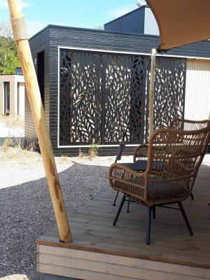 Op de foto: een modelwoning gebouwd door Harmet op camping Bakkum. Foto: ambassade van Estland in Den Haag