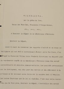 Willem van Rappard'i volikirjad 6. maist 1922. Foto: Rahvusarhiiv