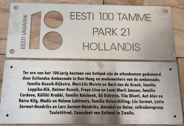 De Estse eiken in Park 21 in Hoofddorp Foto: Estonian House